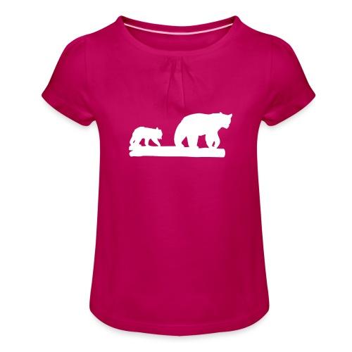Bär Bären Grizzly Raubtier Wildnis Nordamerika - Mädchen-T-Shirt mit Raffungen