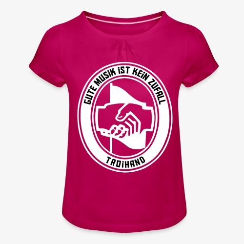 Logo Troihand invertiert - Mädchen-T-Shirt mit Raffungen