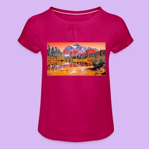 Montagne rosse punteggiate - Maglietta da ragazza con arricciatura