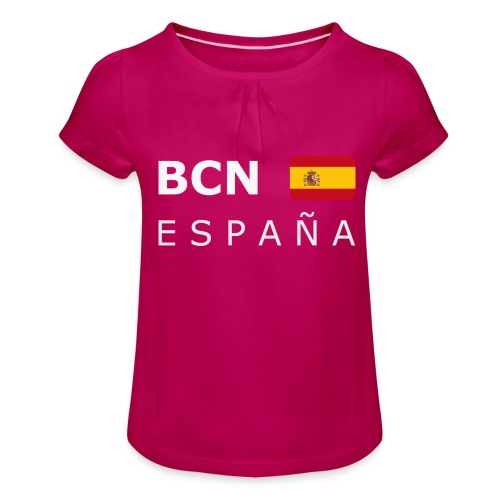 BCN ESPAÑA white-lettered 400 dpi - Girl's T-Shirt with Ruffles