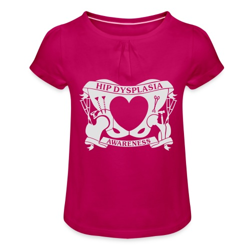 Hip Dysplasia Awareness - Girl's T-Shirt with Ruffles