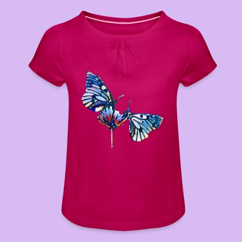 Coppia di farfalle - Maglietta da ragazza con arricciatura