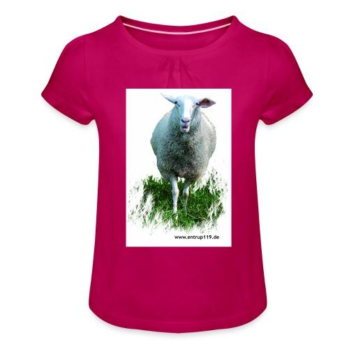 Gemaltes Entrup Schaf - Mädchen-T-Shirt mit Raffungen