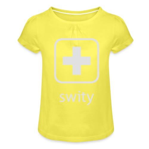 Schweizerkreuz-Kappe (swity) - Mädchen-T-Shirt mit Raffungen