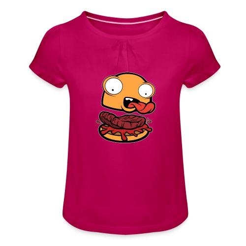 Crazy Burger - Camiseta para niña con drapeado
