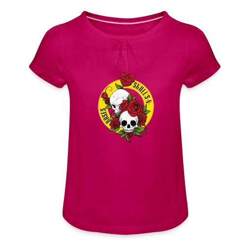 SKULL'S N ROSES - Camiseta para niña con drapeado