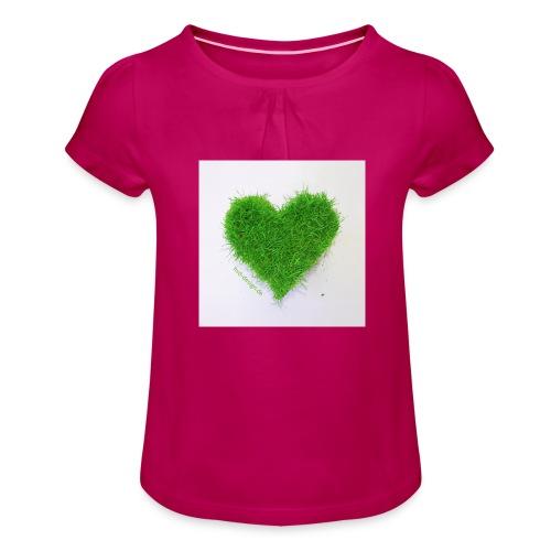Herzrasen Button - Mädchen-T-Shirt mit Raffungen