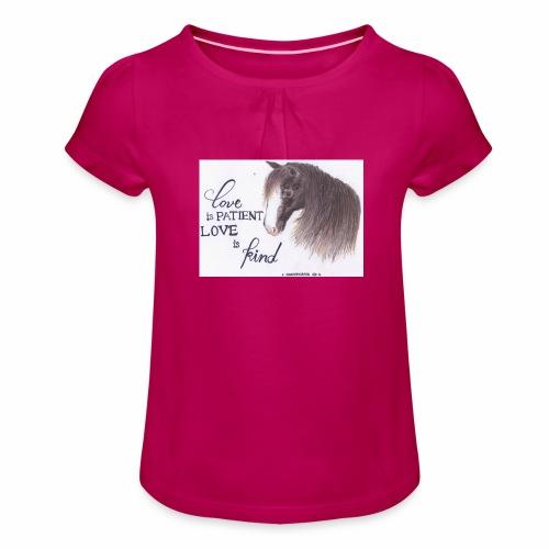 Pferd mit Bibelvers - Mädchen-T-Shirt mit Raffungen