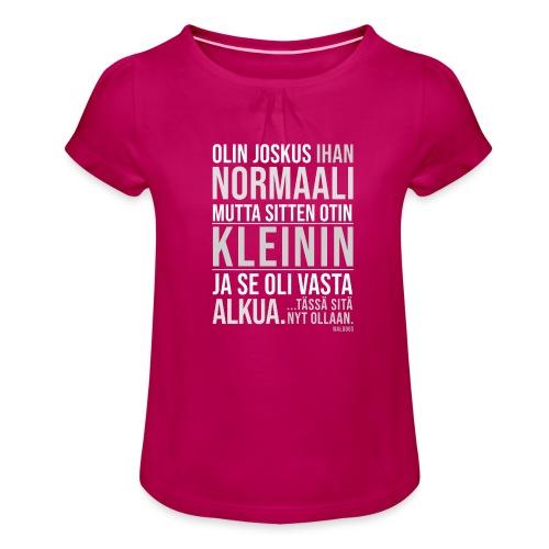 Vasta Alkua Kleini - Tyttöjen t-paita, jossa rypytyksiä