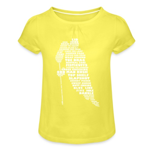 Language of Hockey (White) - Girl's T-Shirt with Ruffles