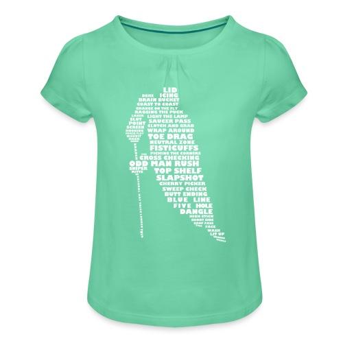 Language of Hockey (White) - Girl's T-Shirt with Ruffles