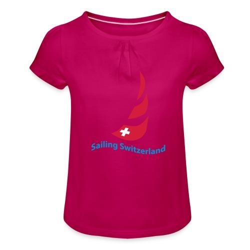 logo sailing switzerland - Mädchen-T-Shirt mit Raffungen