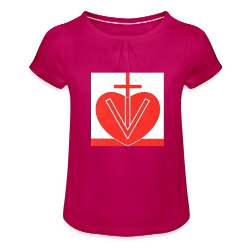 Visk stor - T-shirt med rynkning flicka
