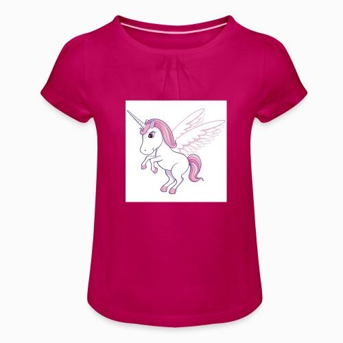 Petite licorne rose super mignonne!! - T-shirt à fronces au col Fille