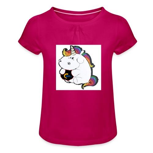 MIK Einhorn - Mädchen-T-Shirt mit Raffungen
