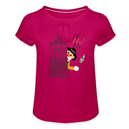Hu! Hu! Hu! Schwarzgelber Clown am Schwarzen Tor - Mädchen-T-Shirt mit Raffungen