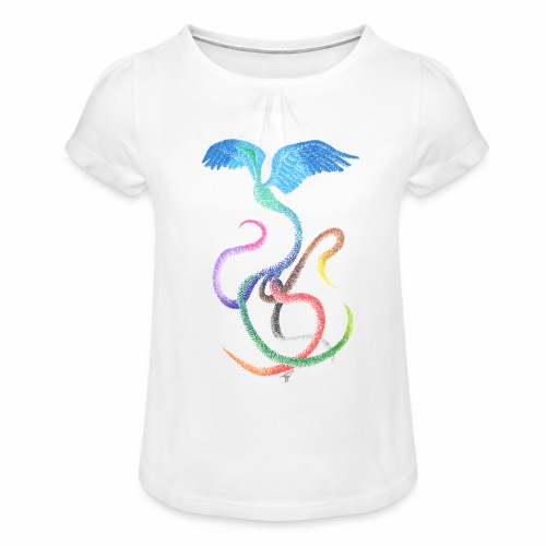 Graceful - Rainbow Bird in Ink - Girl's T-Shirt with Ruffles