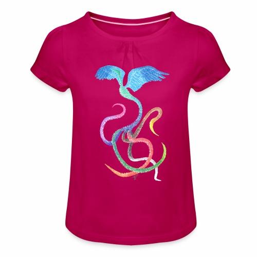 Gracieux - Oiseau arc-en-ciel à l'encre - T-shirt à fronces au col Fille