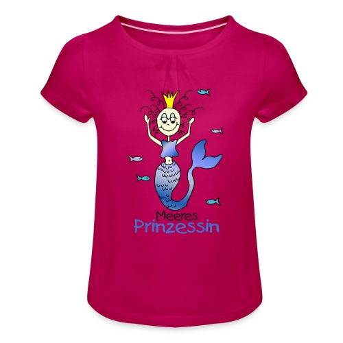 Meeres Prinzessin - Mädchen-T-Shirt mit Raffungen