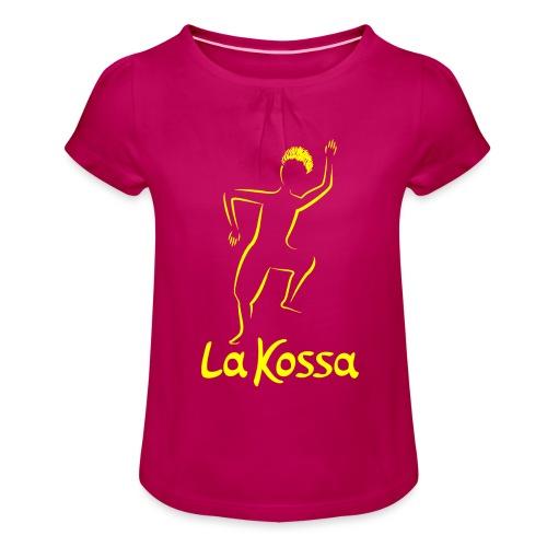 La Kossa - Unser Herz tanzt bunt - Logo Gelb - Mädchen-T-Shirt mit Raffungen