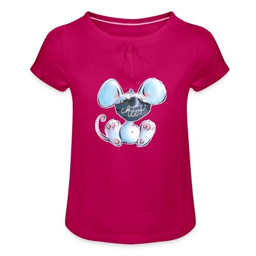 Maskenmaus - Mädchen-T-Shirt mit Raffungen