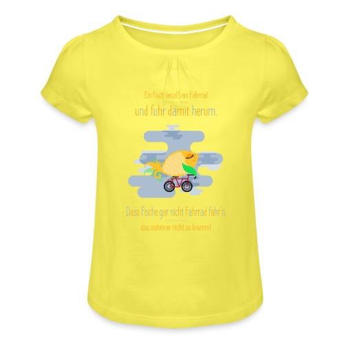 Der Fahrrad-Fisch - Mädchen-T-Shirt mit Raffungen