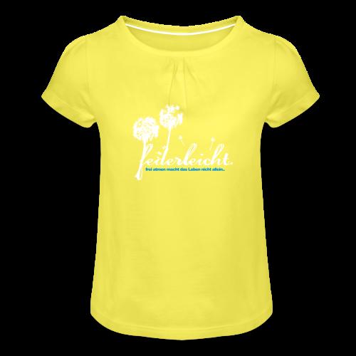 geweihbär Federleicht - Mädchen-T-Shirt mit Raffungen