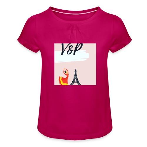 5093CF6A 6ED5 4C11 9553 75CE5F6F2F40 1 - Camiseta para niña con drapeado