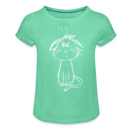 Kissa Kissanpentu valkoinen scribblesirii - Tyttöjen t-paita, jossa rypytyksiä