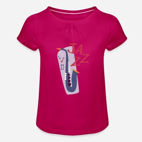 Saxophon Comic Style - Mädchen-T-Shirt mit Raffungen