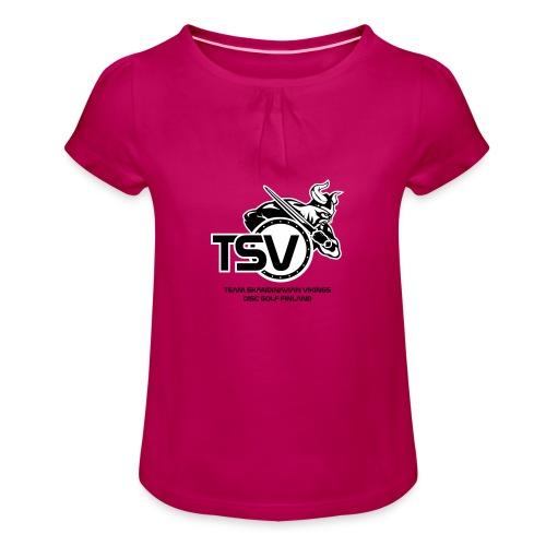 TSV logo koko musta - Tyttöjen t-paita, jossa rypytyksiä