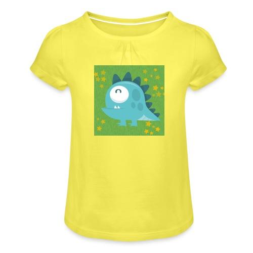 Dino - Mädchen-T-Shirt mit Raffungen