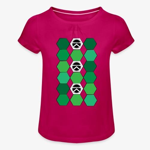 |K·CLOTHES| HEXAGON ESSENCE GREENS & WHITE - Camiseta para niña con drapeado