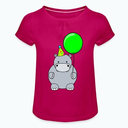 Henri Hippo Party - Appelsin - T-shirt med rynkning flicka