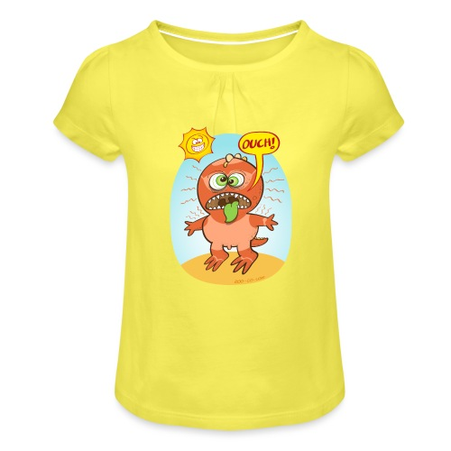 Bad summer sunburn for a funny dinosaur - Girl's T-Shirt with Ruffles