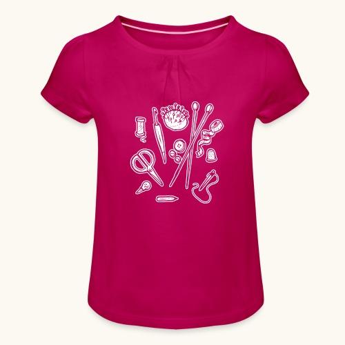 Handarbeiten lustiges Hobby Werkzeuge Geschenk - T-shirt à fronces au col Fille