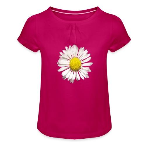 TIAN GREEN Garten - Gänse Blümchen - Mädchen-T-Shirt mit Raffungen