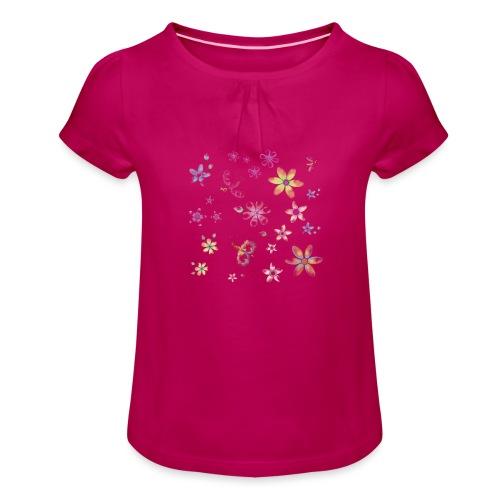 flowers and butterflies - Maglietta da ragazza con arricciatura
