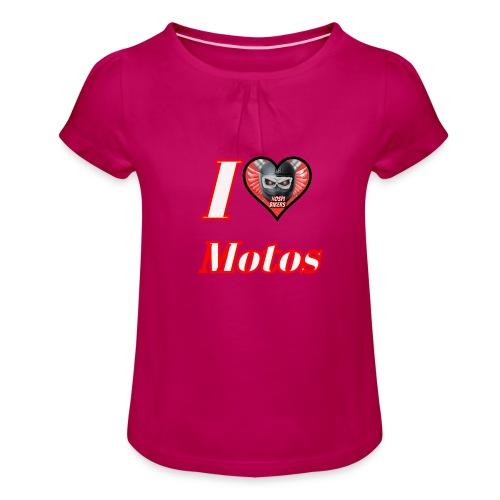 ilovemotos - Camiseta para niña con drapeado