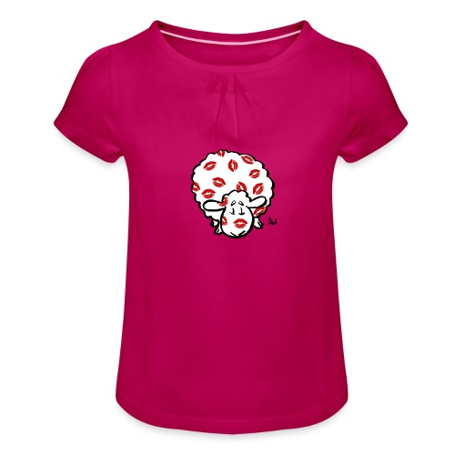 Kuss Mutterschaf - Mädchen-T-Shirt mit Raffungen