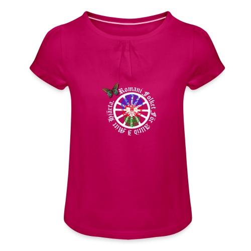 LennyhjulRomaniFolketivitfjerliskulle - T-shirt med rynkning flicka