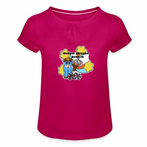 Une merveilleuse licorne est née (pour garcon) - T-shirt à fronces au col Fille