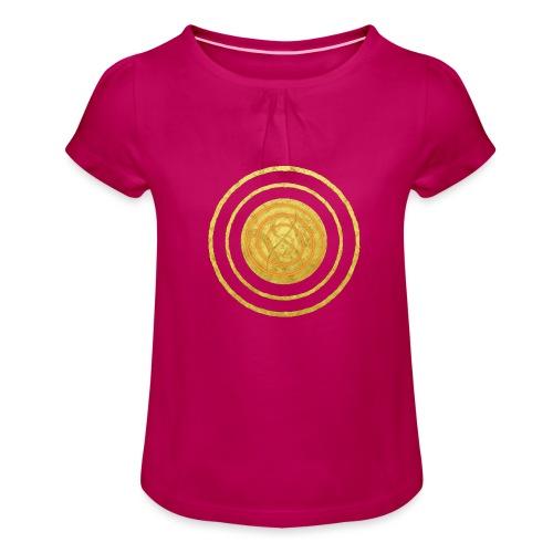Glückssymbol Sonne - positive Schwingung - Spirale - Mädchen-T-Shirt mit Raffungen