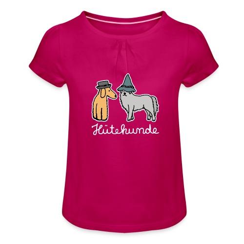 Hütehunde Hunde mit Hut Huetehund - Mädchen-T-Shirt mit Raffungen