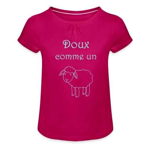 doux-comme-un-agneau-2 - T-shirt à fronces au col Fille