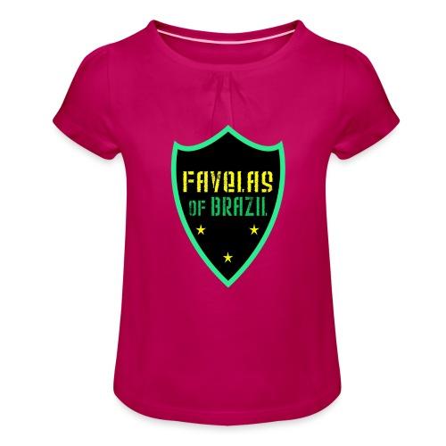 FAVELAS OF BRAZIL NOIR VERT DESIGN - T-shirt à fronces au col Fille
