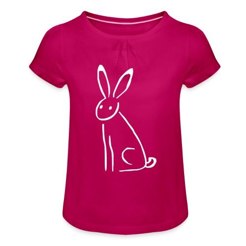Hase - Mädchen-T-Shirt mit Raffungen