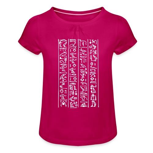 Hieroglyphen - Mädchen-T-Shirt mit Raffungen
