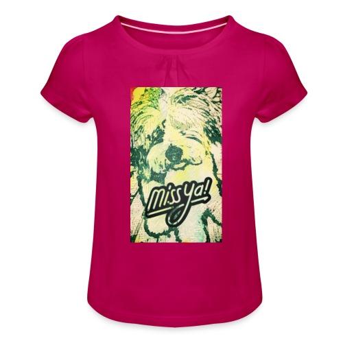 Musste, süsser Hund - Mädchen-T-Shirt mit Raffungen