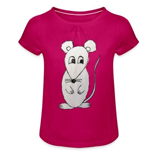 LackyMouse - Mädchen-T-Shirt mit Raffungen